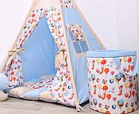 Дитячий намет-вігвам з килимком Сірі Зірки 125х125х170 см, фото 2