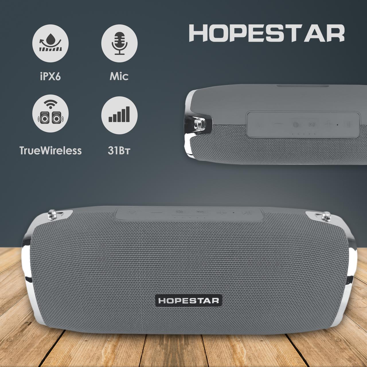 Портативна bluetooth колонка Hopestar A6 портативна акустика блютуз колонка 31 Вт сіра
