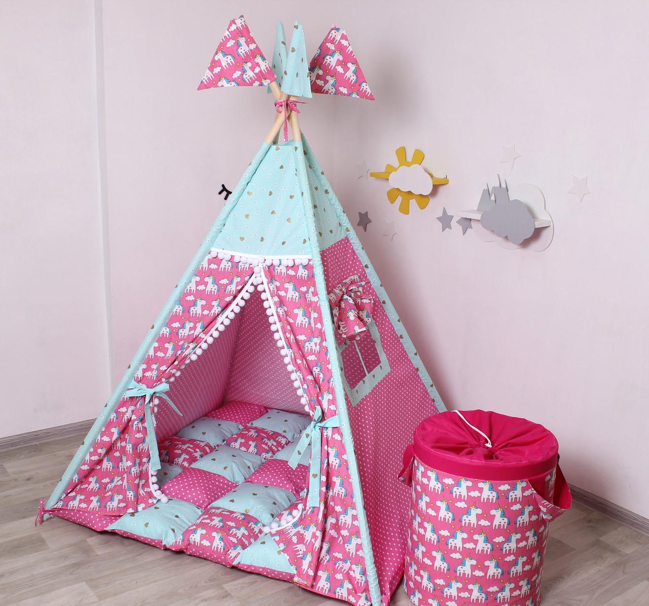 Детская палатка-вигвам с ковриком Яркие Единороги  125х125х170 см