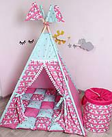 Детская палатка-вигвам с ковриком Яркие Единороги  125х125х170 см, фото 3