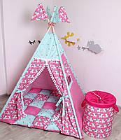 Детская палатка-вигвам с ковриком Яркие Единороги  125х125х170 см, фото 2