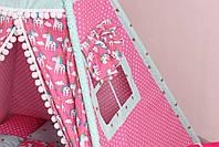 Детская палатка-вигвам с ковриком Яркие Единороги  125х125х170 см, фото 5