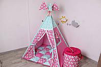Детская палатка-вигвам с ковриком Яркие Единороги  125х125х170 см, фото 7