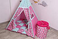 Детская палатка-вигвам с ковриком Яркие Единороги  125х125х170 см, фото 8