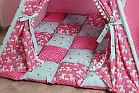 Детская палатка-вигвам с ковриком Яркие Единороги  125х125х170 см, фото 6