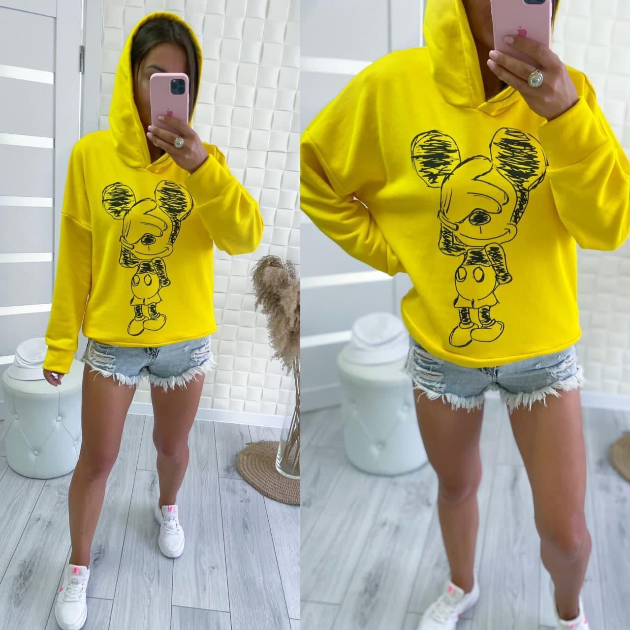 Яскрава і стильна толстовка з зображенням Міккі Мауса (капюшон) yellow