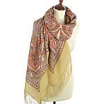 """Платок шерстяной с шелковой бахромой """"Имбирь"""", вид 2, 146x146 см, фото 2"""