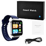 Смарт часы Фитнес браслет трэккер Smart Watch Mi5 pro Sim карта и камера температура синие + Подарок, фото 2