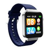 Смарт часы Фитнес браслет трэккер Smart Watch Mi5 pro Sim карта и камера температура синие + Подарок, фото 4