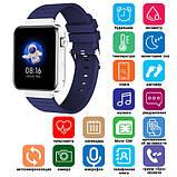 Смарт часы Фитнес браслет трэккер Smart Watch Mi5 pro Sim карта и камера температура синие + Подарок, фото 7