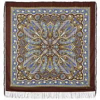 """Платок шерстяной с шелковой бахромой """"Имбирь"""", вид 17, 146x146 см"""