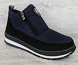 Женские зимние ботинки - кроссовки темно-синие (БТ-5ст), фото 3