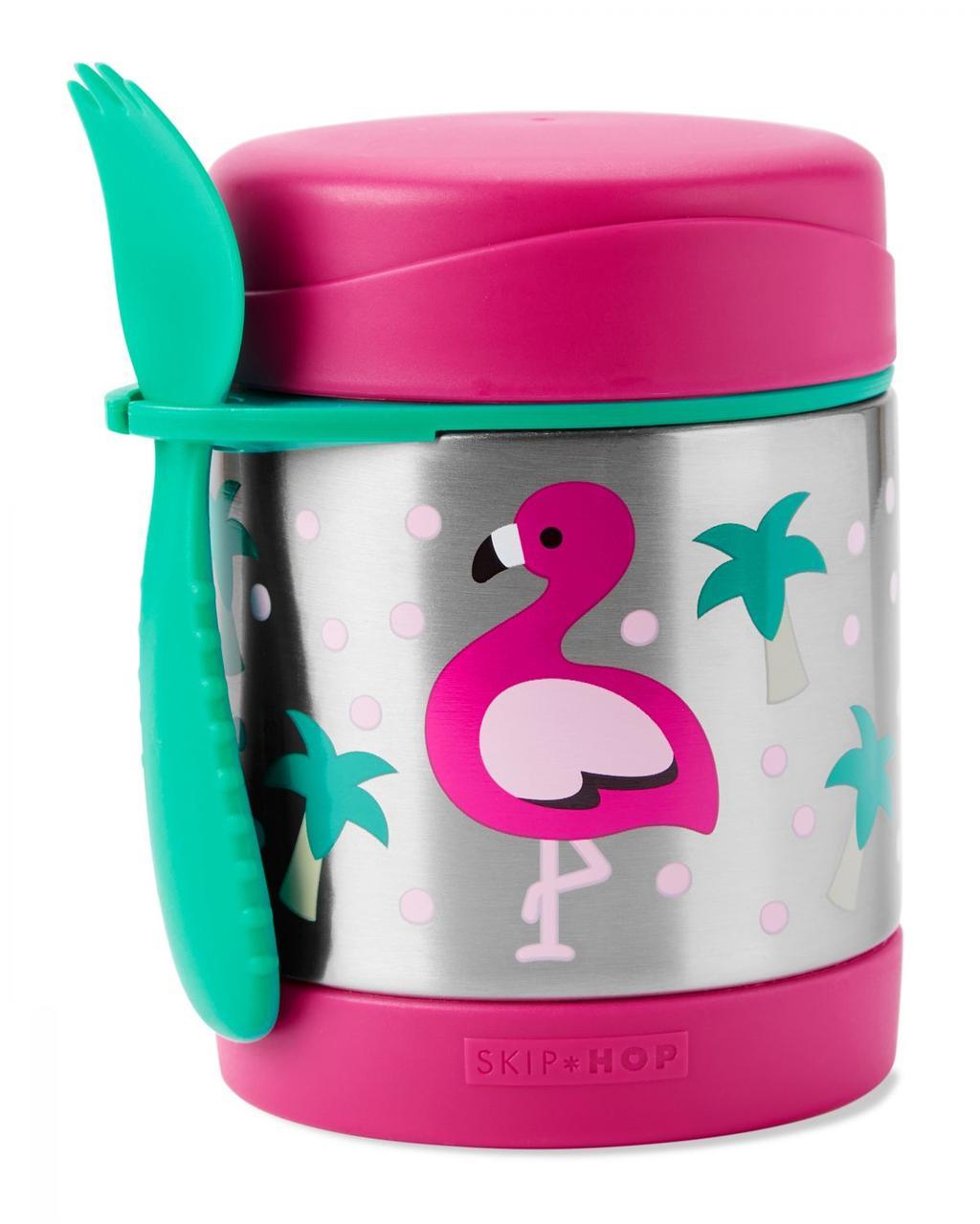 Термос для еды с ложкой-вилкой Skip Hop, 325 мл (Zoo Insulated Little Kid Food Jar) - Flamingo (Фламинго) 12м+