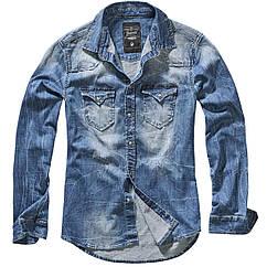 Рубашка Brandit Riley Denim BLUE S Синий 4020.62 ZZ, КОД: 1381778
