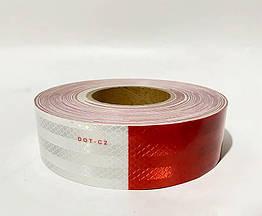 Светоотражающая самоклеящаяся лента Eurs 5x300 см Красно-Белая DOT-C2-WHITE-RED3 ZZ, КОД: 2604056