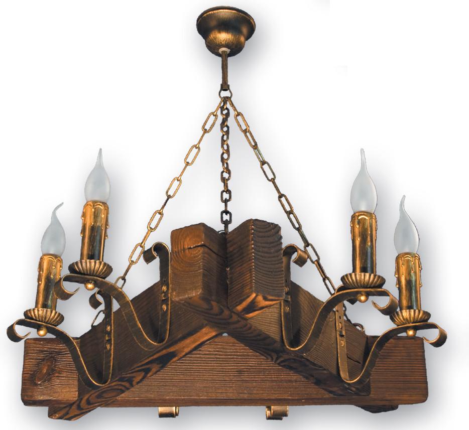 Шикарная деревянная люстра на 6 свечей 220926