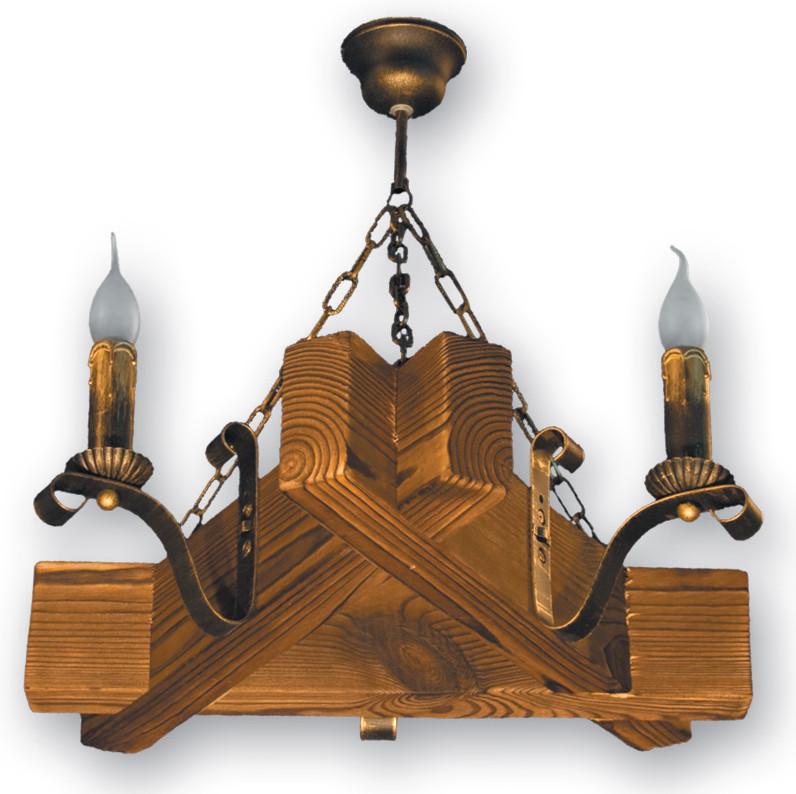 Деревянная подвесная люстра на цепи на 3 свечи 420923