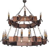 Шикарная люстра из дерева в стиле Лофт двуярусная на 18 свечей