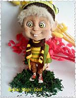 Мальчишка хулиган. Валяная кукла, валяная игрушка, кукла из шерсти. Мальчик