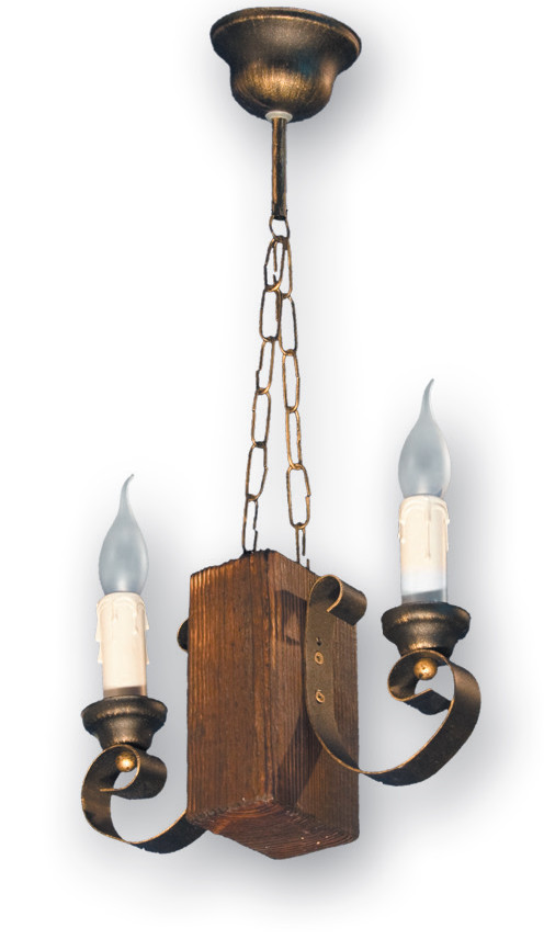 Люстра подвес на цепи из дерева на 2 свечи 330522