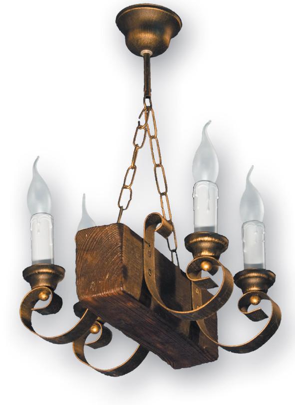 Деревянная люстра для бара на 4 свечи 130524