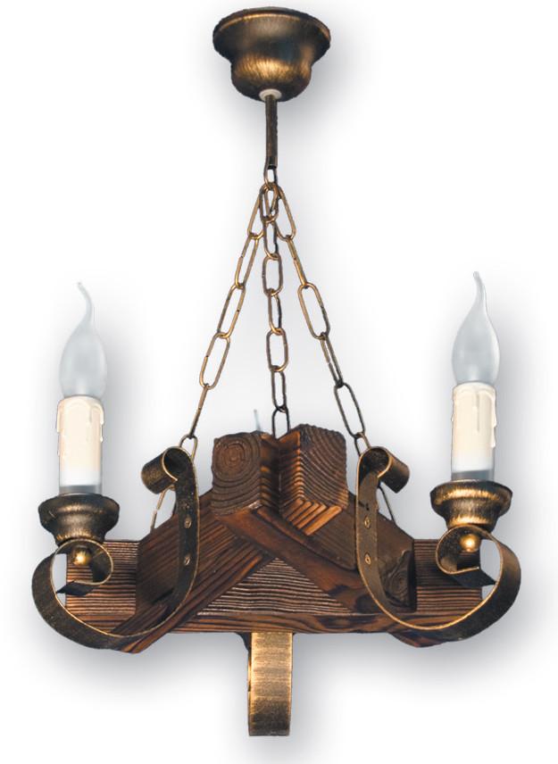Деревянная люстра под старину на 3 свечи 350523