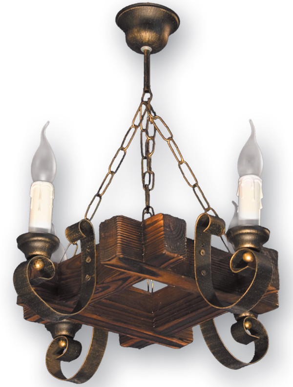 Люстра на 4 свечи из натурального дерева 360524