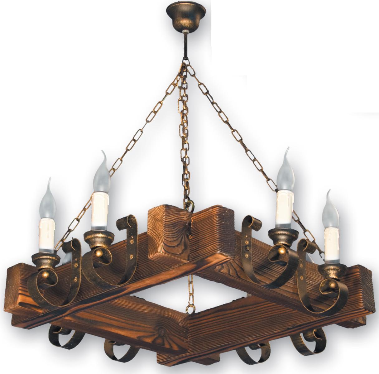 Люстра подвесная на цепи из натурального дерева на 6 свечей 230528