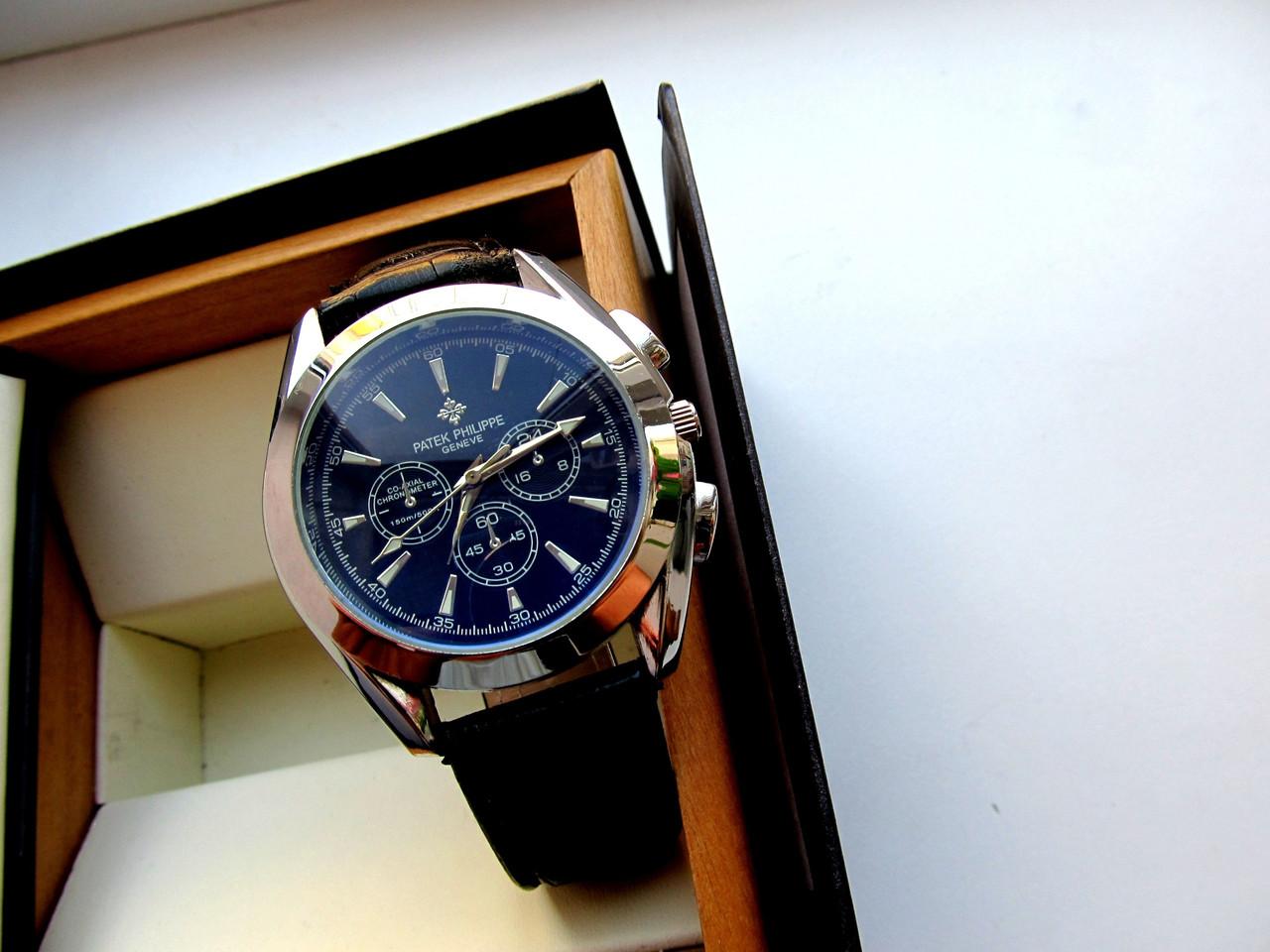 Мужские часы кварцевые PATEK PHILIPPE черное серебро , недорогие наручные  часы 98aa27a723b