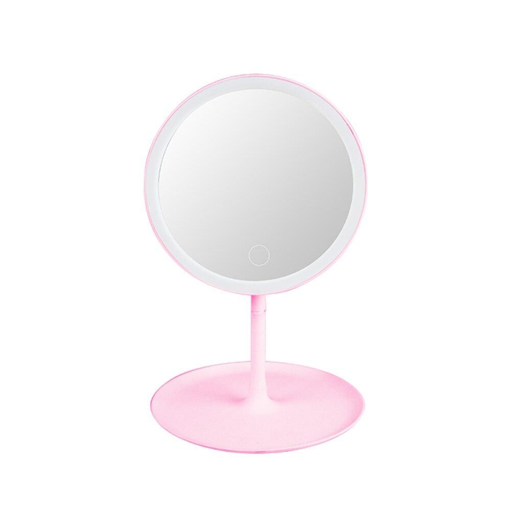 Зеркало с LED подсветкой круглое 360 (Розовый)