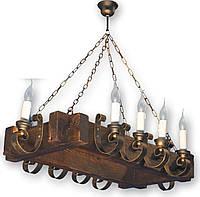 Люстра для зала на 10 свечей из натурального дерева 4105210