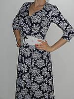 Плотное трикотажное платье с растительным орнаментом и широкой юбкой Exclusive 50265662 рр. M, L