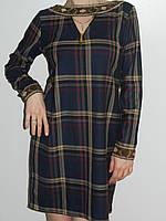 Платье из плотного хлопка в крупную клетку с длинным рукавом темно-синее Deloras рр. 48-50