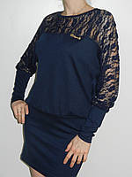 Женское трикотажное платье-туника со вставками из гипюра синее Eileens Китай рр. 46 -48