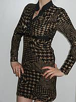 Трикотажное платье Турция ломанная клетка для офиса с длинным рукавом тонкое Treysi рр. L