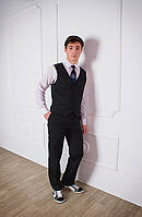Брюки классические школьные для мальчика черные, школьная форма брюки, брюки для подростков