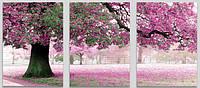 Картина по номерам MS14028 DZ303 Триптих Весенний цвет 50х150