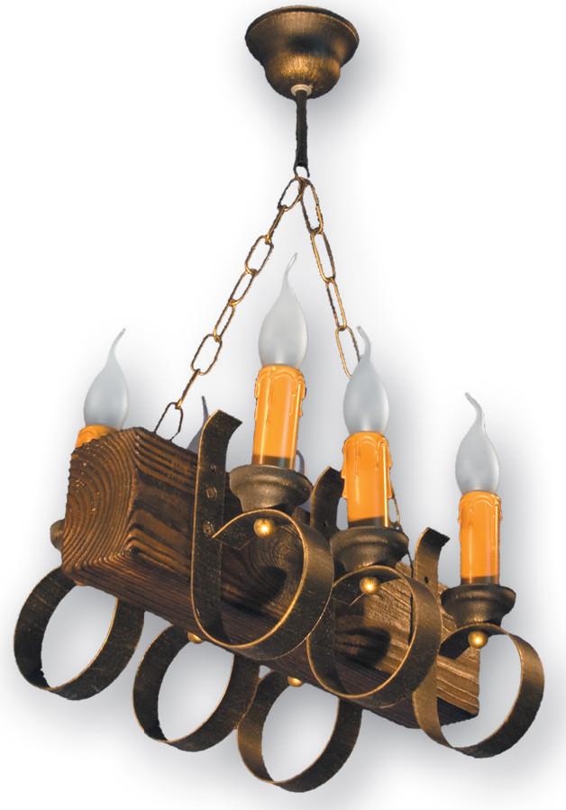 Люстра деревянная бревно на 6 свечей 130226