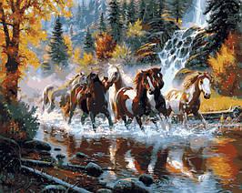 Картина по номерам VP130 Дикие лошади 40 х 50 см