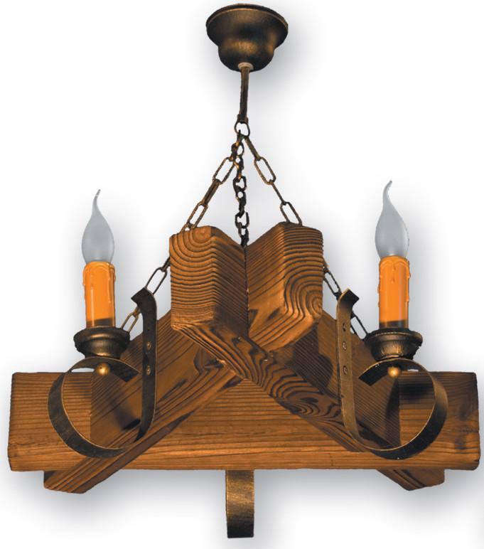 Люстра из дерева на цепи треугольная на 3 свечи 420223
