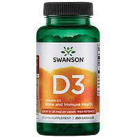 Вітамін D3 високоефективний, Swanson, 1000 МО, 250 капсул, фото 1