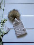 Демісезонна зимова дитяча і підліткова в'язана шапка з 100% мериноса для хлопчика і дівчинки ручної роботи, фото 2