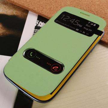 Салатовый чехол-книжка с окошками к Samsung S3 mini i9180