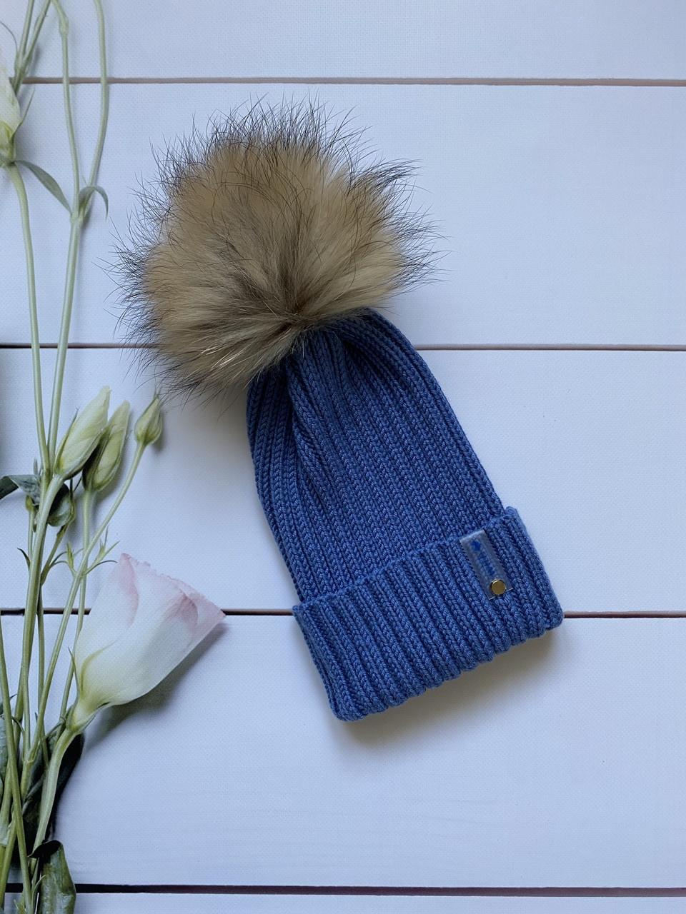Демісезонна зимова дитяча і підліткова в'язана шапка з 100% мериноса для хлопчика і дівчинки ручної роботи