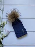 Демісезонна зимова дитяча і підліткова в'язана шапка з 100% мериноса для хлопчика і дівчинки ручної роботи, фото 3