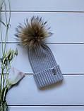 Демісезонна зимова дитяча і підліткова в'язана шапка з 100% мериноса для хлопчика і дівчинки ручної роботи, фото 4