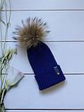 Демісезонна зимова дитяча і підліткова в'язана шапка з 100% мериноса для хлопчика і дівчинки ручної роботи, фото 5