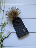 Демісезонна зимова дитяча і підліткова в'язана шапка з 100% мериноса для хлопчика і дівчинки ручної роботи, фото 6