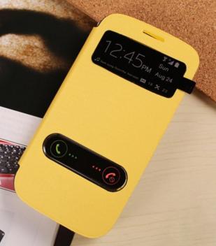 Желтый чехол-книжка с окошками к Samsung S3 mini i9180
