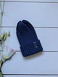 Демісезонна зимова дитяча і підліткова в'язана шапка з 100% мериноса для хлопчика і дівчинки ручної роботи, фото 8